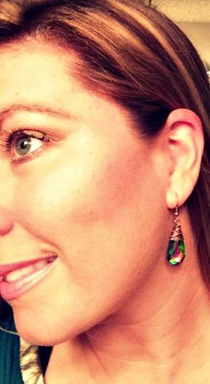 Green Vitrail Swarovski Teardrop Glass and copper wire wrapped earrings. McKee Jewelry Designs - Lovely colour.