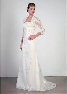 Elegant Satin Sheath Strapless Neckline Wedding Dress