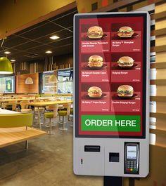 Fast Food Capacitive Touchscreen Menu Ordering Kiosk with POS debit/credit card processor, mobile scanner and receipt printer. Digital Menu Boards, Digital Signage, Menu Signage, Digital Retail, Food Design, Ui Design, Graphic Design, Food Kiosk, Self Service