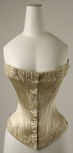 Corset  Date: 1894 Culture: American Medium: silk - Interesting button closure