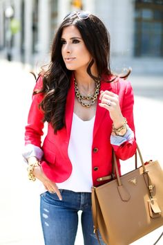 red blazer with prada bag