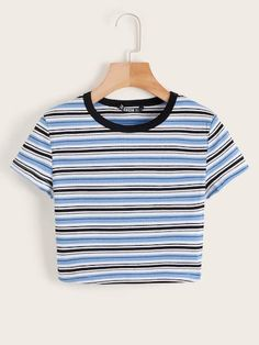 To find out about the Contrast Neck Striped Rib-knit Crop Tee at SHEIN, part of our latest T-Shirts ready to shop online today! Cute Crop Tops, Cropped Tops, Cami Tops, Women's Tops, Crop Top Outfits, Casual Outfits, Cute Outfits, Fashion Outfits, Grunge Outfits