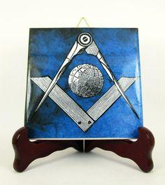 #Freemasons #gift idea #collectible ceramic tile #Square and #Compass and Globe #Mason