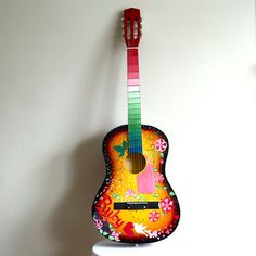 Painted guitar. Custom example for baby's by laMarmotaCafe on Etsy