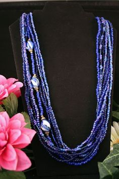 'Lovely Blue Seed Bead Necklace' is going up for auction at  4pm Thu, Jun 13 with a starting bid of $12.