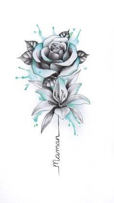 Do you need an individual design? Then you are right here. # tattoos - diy tattoo images - Tattoo Designs For Women Tattoo Drawings, Body Art Tattoos, Small Tattoos, Cool Tattoos, Tatoos, Flower Drawings, Drawing Flowers, Rose Drawing Tattoo, Tattoo Sketches