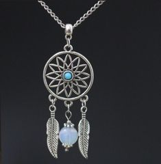 """Native American Dream Catcher Dreamcatcher Pendant 18"""" Chain Necklace Alloy Vintage Ancient Silver Charms ~ Christmas Gift"""