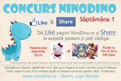 Concurs Like & Share NinoDino – Saptamana 1    Premiu:  Mascota de plus Hello Kitty 20 cm + Puzzle cu Tom & Jerry de 240 piese.  Ce trebuie sa faci?  Da like (daca nu ai dat deja) paginii NinoDino.ro si apoi da share acestei postari. Si gata, esti inscris in tragerea la sorti pentru premiul pus in joc. Extragerea va avea loc vineri 15.02.2013 la ora 20:00 si se va face prin intermediul random.org.   Castigatorul va fi anuntat pe loc pe pagina de facebook si prin mesaj privat.  Mult success!