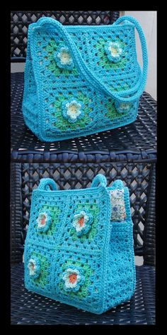 Granny Square Bag with flowers - for little and big girls - Instant Download Pdf