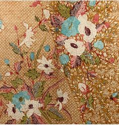 Pekalongan hip wrapper pagi sore a side by side two-styled long cloth hip wrapper adorned bu beautiful flowers. Textile Printing, Batik Pattern, Textures And Tones, Shadow Puppets, Java, Ikat, Beautiful Flowers, Art Gallery, Textiles
