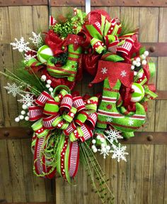 Elf Boot Christmas Mesh Wreath by WilliamsFloral on Etsy, $129.00
