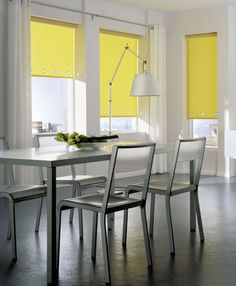 Rolgordijnen geel - met zeilringen