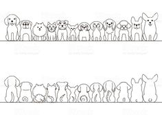 small dogs border set, front view and rear view, line art. - small dogs border set, front view and rear view, line art royalty-free small dogs border set front - Dog Line Drawing, Dog Line Art, Dog Art, Small Dog Tattoos, Mini Tattoos, Cute Tattoos, Tatoos, Tatoo Dog, Pug Tattoo