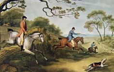 A painting of Fox Hunting .