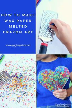 Use broken crayons to create colorful Wax Paper Melted Crayon Art. Kids will love this colorful and easy craft project. Melted Crayon Crafts, Crayon Art, Broken Crayons, Wax Crayons, Cool Art Projects, Easy Craft Projects, Toddler Crafts, Crafts For Kids, Making Crayons