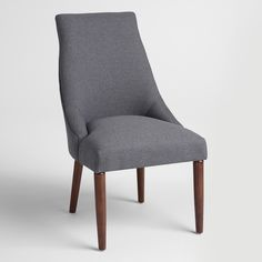 With a slim, clean-lined profile, our dining chairs are a modern take on a classic. These handsome seats feature hardwood construction, espresso rubberwood legs and sophisticated charcoal gray menswear-inspired fabric upholstery.