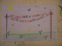 Thumb print birds on a wire. What you need: paper, coloured pencils or markers, ink pads.