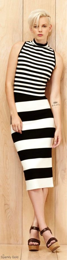 Milly Resort 2016 striped black white dress  women fashion outfit clothing stylish apparel @roressclothes closet ideas