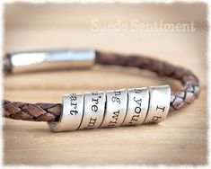 Men's Bracelet Custom Stamped Jewelry by SuedeSentiment on Etsy Copper Anniversary Gifts, Boyfriend Anniversary Gifts, Distance Means So Little, Bracelets For Men, Jewelry Bracelets, Men's Jewelry, Leather Bracelets, Matching Couple Bracelets, Braided Bracelets