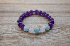 Amethyst Amazonite and Rose Quartz Mala Bracelet by YogaDotOm