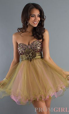 Short Baby Doll Prom Dress at PromGirl.com