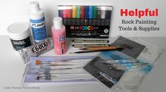 Helpful rock painting tools and supplies - nice to have for creating painted rocks art Rock Painting Supplies, Painting Tools, Stone Painting, Outdoor Acrylic Paint, White Acrylic Paint, Painted Rocks Craft, Hand Painted Rocks, Stone Bird Baths, Rock Crafts