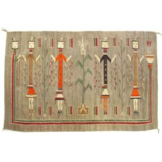 """Large Antique Yei Navajo Tapestry Wall Hanging 6'11"""" x 3'10"""""""