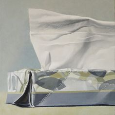 """Tissue Box - Gray Floral  oil on panel  12"""" x 12"""""""