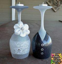 Wedding wine glass candle holders