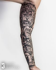 Realistic Black & Grey Sleeve Tattoo, Lion, Rose, All Seeing Eye, Triangle & Candle With Smoke - By: Jannesdegroot. Reptile Eye, Black And Grey Sleeve, Dove Body Wash, All Seeing Eye, Latest Pics, Picture Tattoos, New Image, Sleeve Tattoos, Photo And Video
