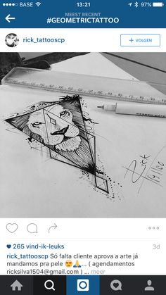 Semi geometric lion tattoo design