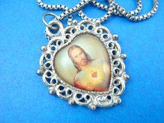 Vintage Sacred Heart of Jesus Catholic Necklace