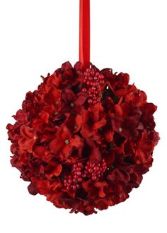 Red Burgundy Hydrangea Kissing Ball Silk Flowers Permanent Arrangement