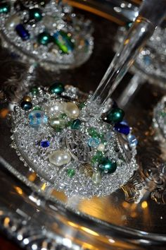 Quick fun DIY project that makes a great gift - encrusted wine glasses :  wedding Glasses