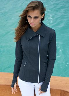 The Jofit Jet Set Jacket is a smart and sexy style for the entire day - from action to fashion.  Run, shop, dine, look fabulous, and shine in the Jofit Jet Set Jacket. #golf #outerwear #lorisgolfshoppe