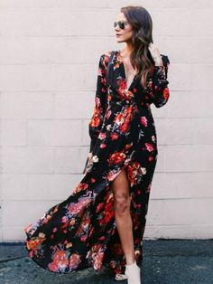 Floral Long Sleeve Tea Split Tie Waist Maxi Dresses (1) #Fall2020collection #Falloutfits #Fallcollection #FallWear #Autumnwear #fashionintrend #womenfashion #Expressyourself Summer Fashion Outfits, Boho Outfits, Boho Fashion, Fashion Pants, Fashion Spring, Fall Outfits, Long Sleeve Maxi, Maxi Dress With Sleeves, Fall Collection