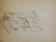NUDE IN BED vintage life drawing ink beautiful by CyranoArtGallery