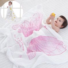 Pink wings, muslin swaddle blanket for babies,2017 hot selling, get one for your baby