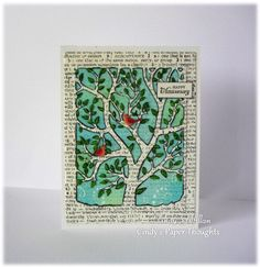 I just love Book Print and Text in mixed media art, so I thought I would give it a go, incorporating this Poppy Craft rectangle framed tree die. I stamped two panels of Watercolor card with Hero ar…