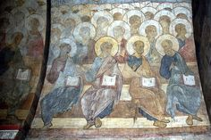 The Last Judgement: Angels and apostles, 1408 Andrei Rublev - by style - Byzantine Andrei Rublev, Constantine The Great, Byzantine Art, Art Database, Orthodox Icons, Roman Empire, Middle Ages, Medieval, Antiques