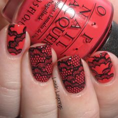 nails.quenalbertini: 31DC2016 - Red Black Lace Stamping | Lavish Layerings