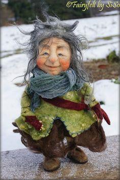 needle & wet felted Gnome https://www.facebook.com/FairyfeltBySiso/