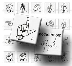 ASL American Sign Language Alphabet - 1 squares for jewelry making  crafts digital-collage-sheets