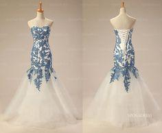 Blue lace dress cheap prom dress long prom dress by sposadress, $258.00    I WAAAAAAAAAANT!!!! I also want an event to wear it to