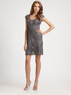 Sue Wong - Cap-Sleeve Embroidered Sheath - Saks.com - step mother of bride dress?