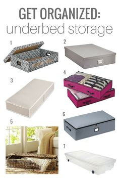 Underbed storage container options for your seasonal items to free up space in your closet and dresser...