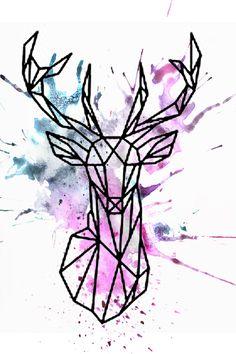 Watercolor geometric deer design More