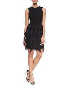 B2TPR Michael Kors Sleeveless Ruffle-Skirt Sheath Dress