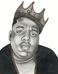 NOTORIOUS (BIGGIE SMALLS) -Graphite and colored pencil drawing with gold paint detailing by Alexis Lawlor  www.alexislawlor.bigcartel.com Instagram: @alexislawlor_