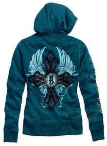 Harley-Davidson® Womens Winged Cross Hoodie, Saxony Blue